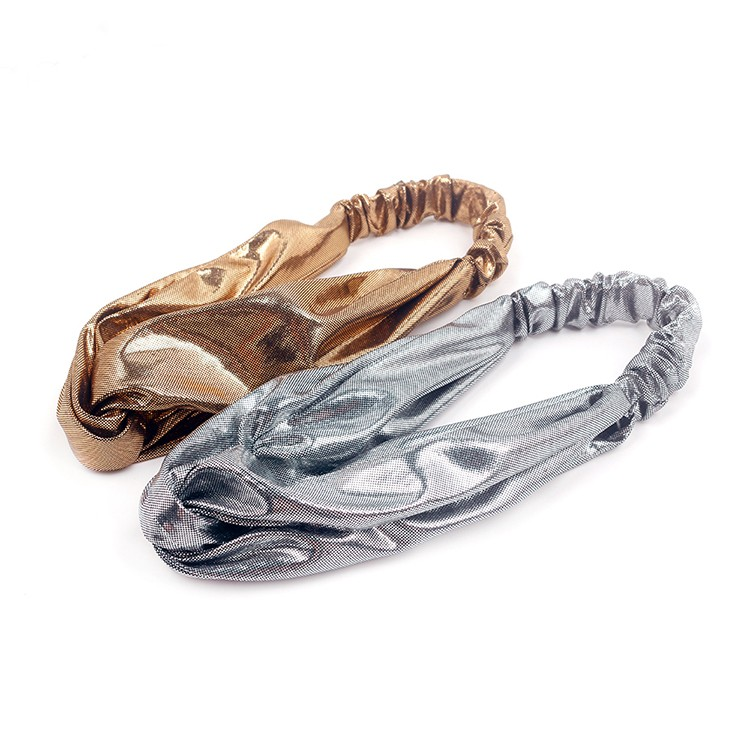 Handmade Gold And Silver Foil Stamping Fabric Cross Headband Women Gold Sparkly Headband