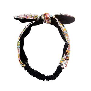 Colorful Charming Sequin Bow Headband Contrast Fabric Headband