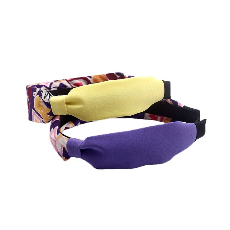 Unique Print and Solid Fabric Knot Plastic Hairband For Women