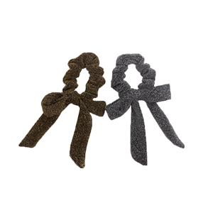 Factory Wholesale Glitter Lurex Charming Bow Hair Scrunchies