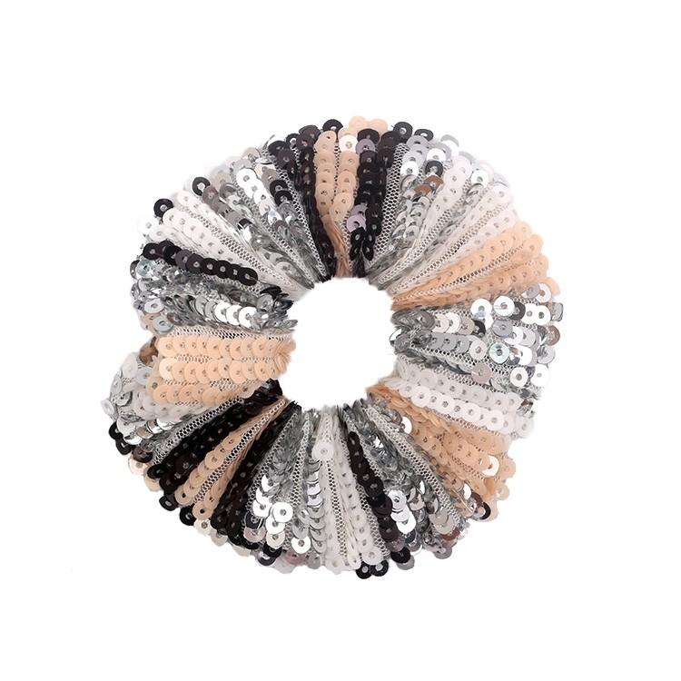 Fashion Hair Accessories Sequin Fabric Elastic Hair Scrunchies