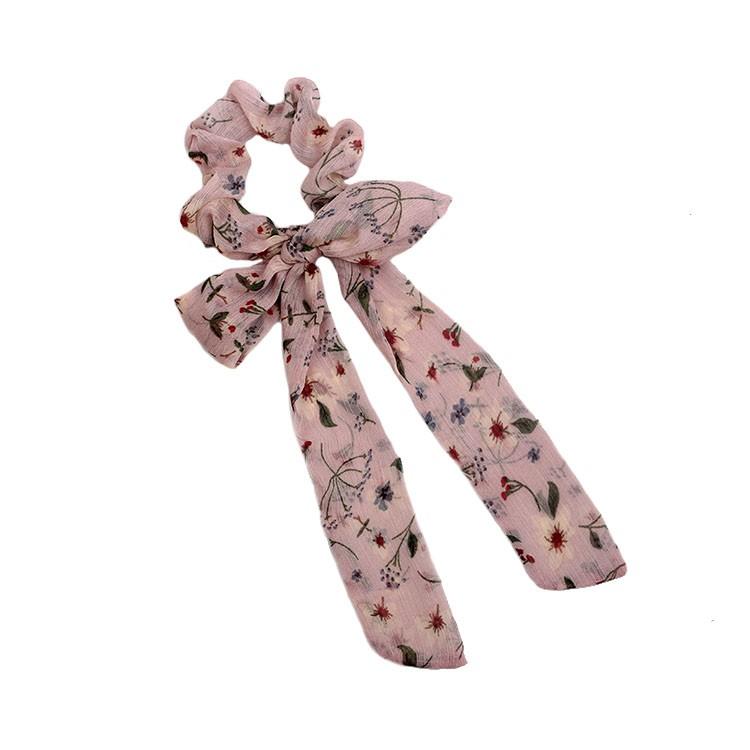 Fashion bow tie hair scrunchy girls long tie hair tie