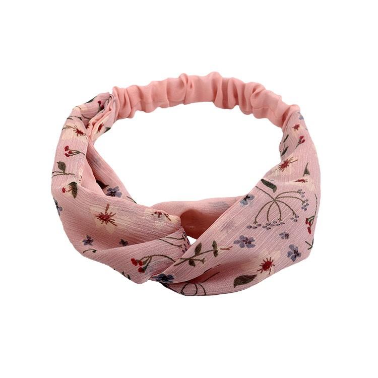 Pink floral pattern cross headband chiffon headwrap for women