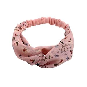 Pink floral pattern cross headband chiffon headwrap for women