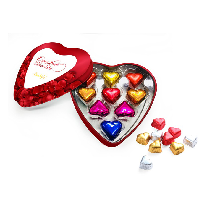 Heart shape milk chocolate with tin box packaging valentine heart shape wholesale 58g