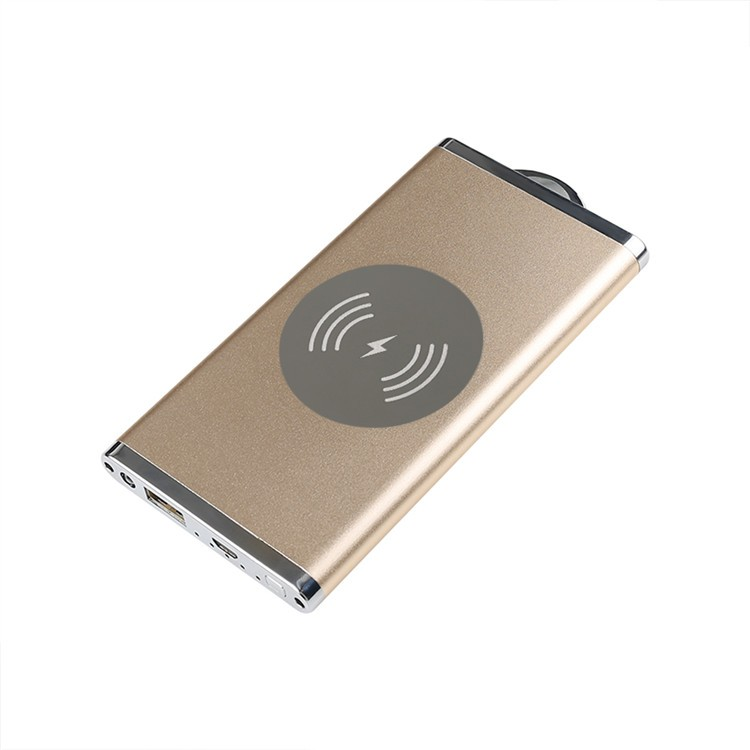 5000mAh Aluminum Alloy Qi Wireless Charger Power Bank