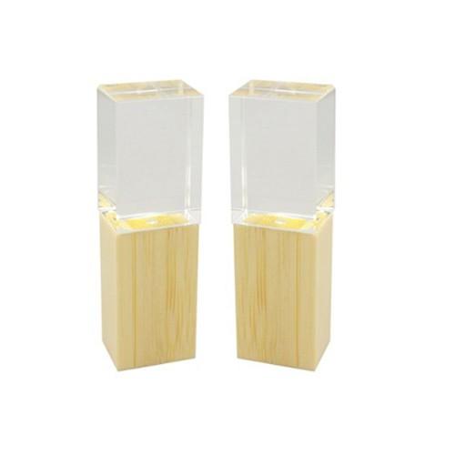 Egyéni 3D logó belül Crystal Wood USB Flash Drive