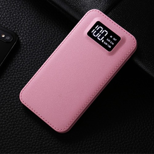 Leather Portable Charger Lcd Digital Display Power Bank 6000mah
