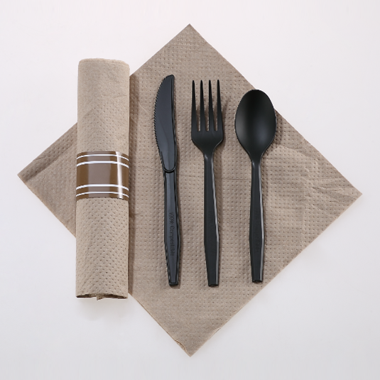 Rolled Linen-like Serviet Og Kompostable Utensils Kits