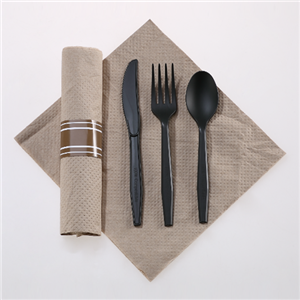 Rolled Linen-like Napkin And Compostable Utensils Kits