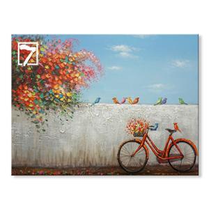 初期の春の自転車キャンバス絵画