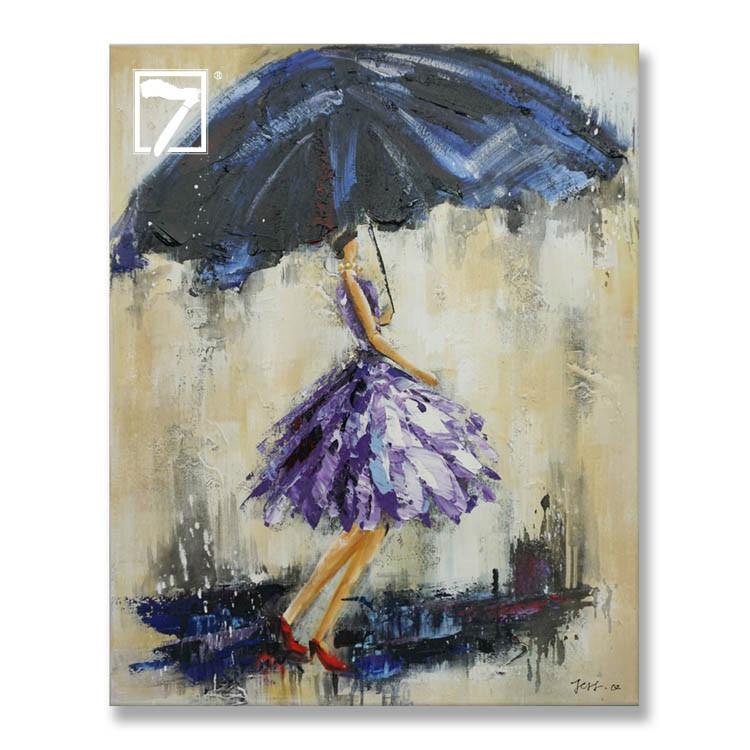 فتاة مع مظلة مؤطرة جدار الفن
