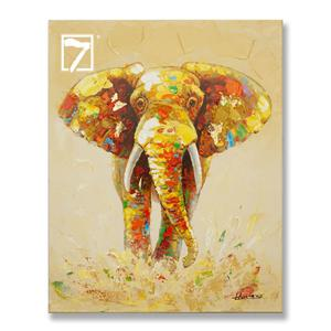 Gold Elephant Wildlife Handpainted Painting