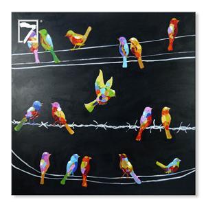 Moderne kunstfugle på ledning