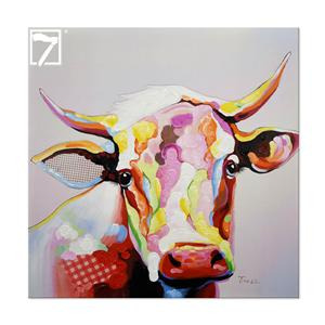 Vaca artesanal esticada lona arte