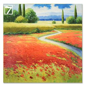 Modern Painting Red Tuscan landscape painting