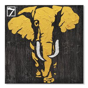 Handmade Oil Elephant Painting with Gold Leaf