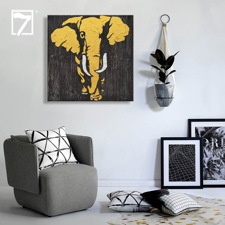 Handmade Oil Elephant Painting with Gold Leaf Manufacturers, Handmade Oil Elephant Painting with Gold Leaf Factory, Supply Handmade Oil Elephant Painting with Gold Leaf