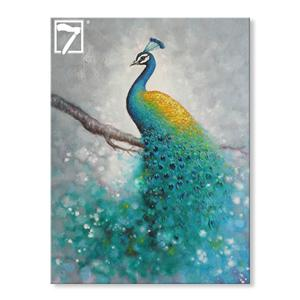 Modern Handmade Peacock Painting on Canvas