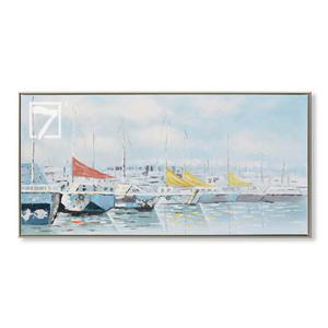 ヨットの装飾アートワーク油絵