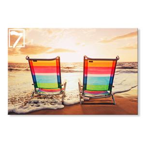 Canvas Artwork Beach Chair Landscape