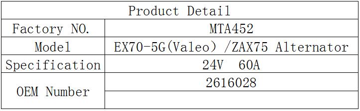 24V 60A 2616028 alternator