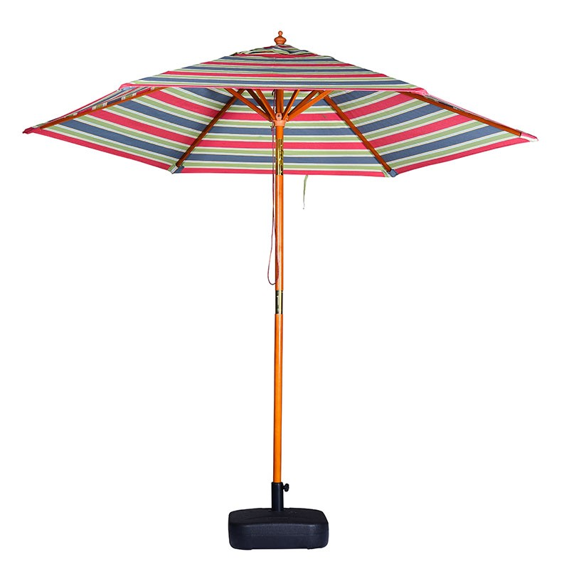 2.5M outdoor sun umbrella stripe design waterproof wood patio umbrella with tilt