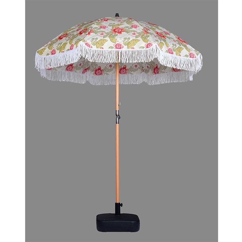 6.5Ft garden umbrella and standard size beach sun umbrella with tassels for outdoor