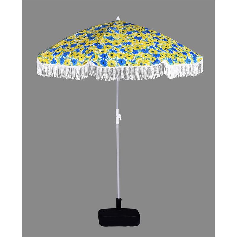 2019 New design Outdoor Printed umbrella Beach Umbrella With Tassels