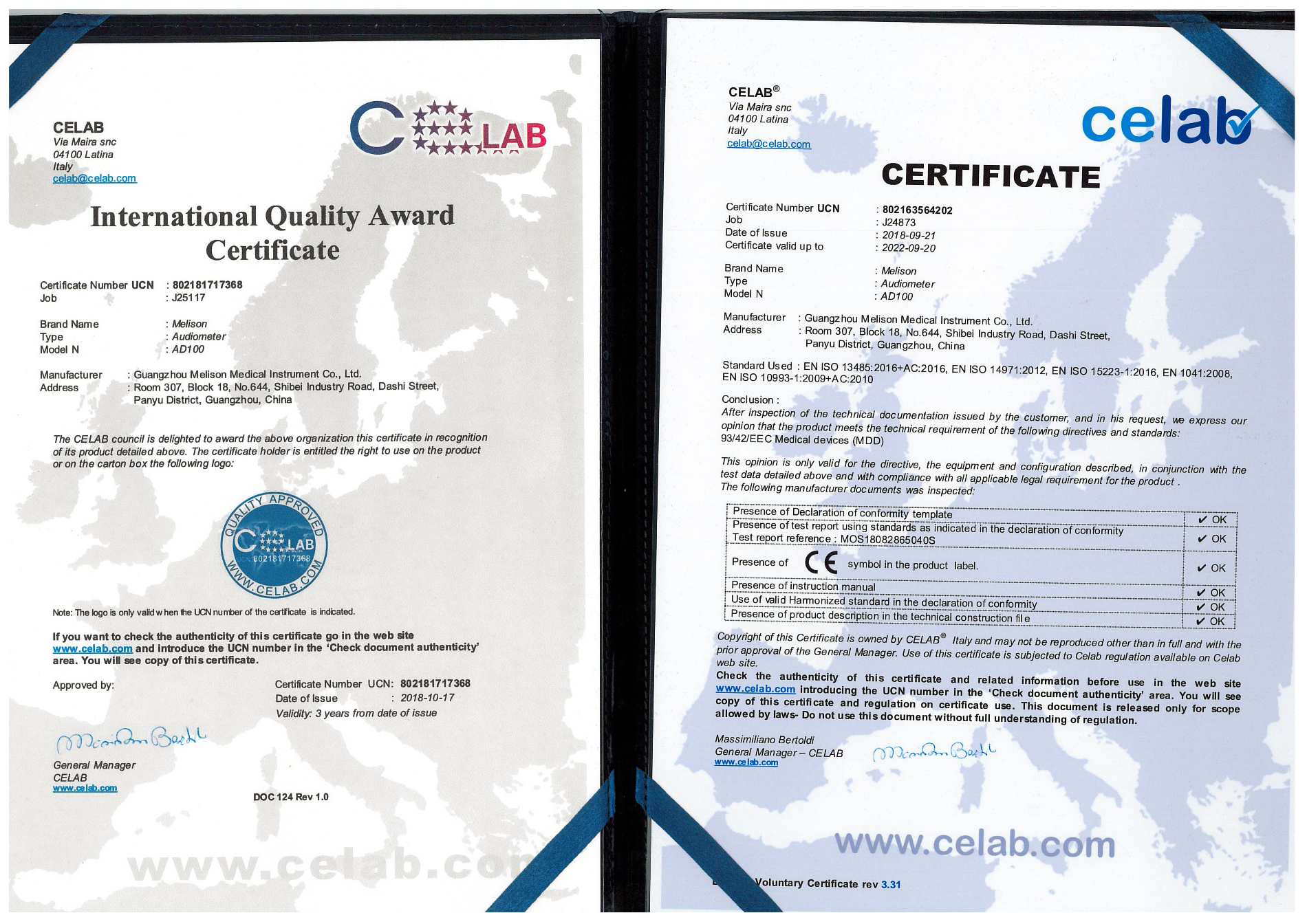 CE Certificate for AD100