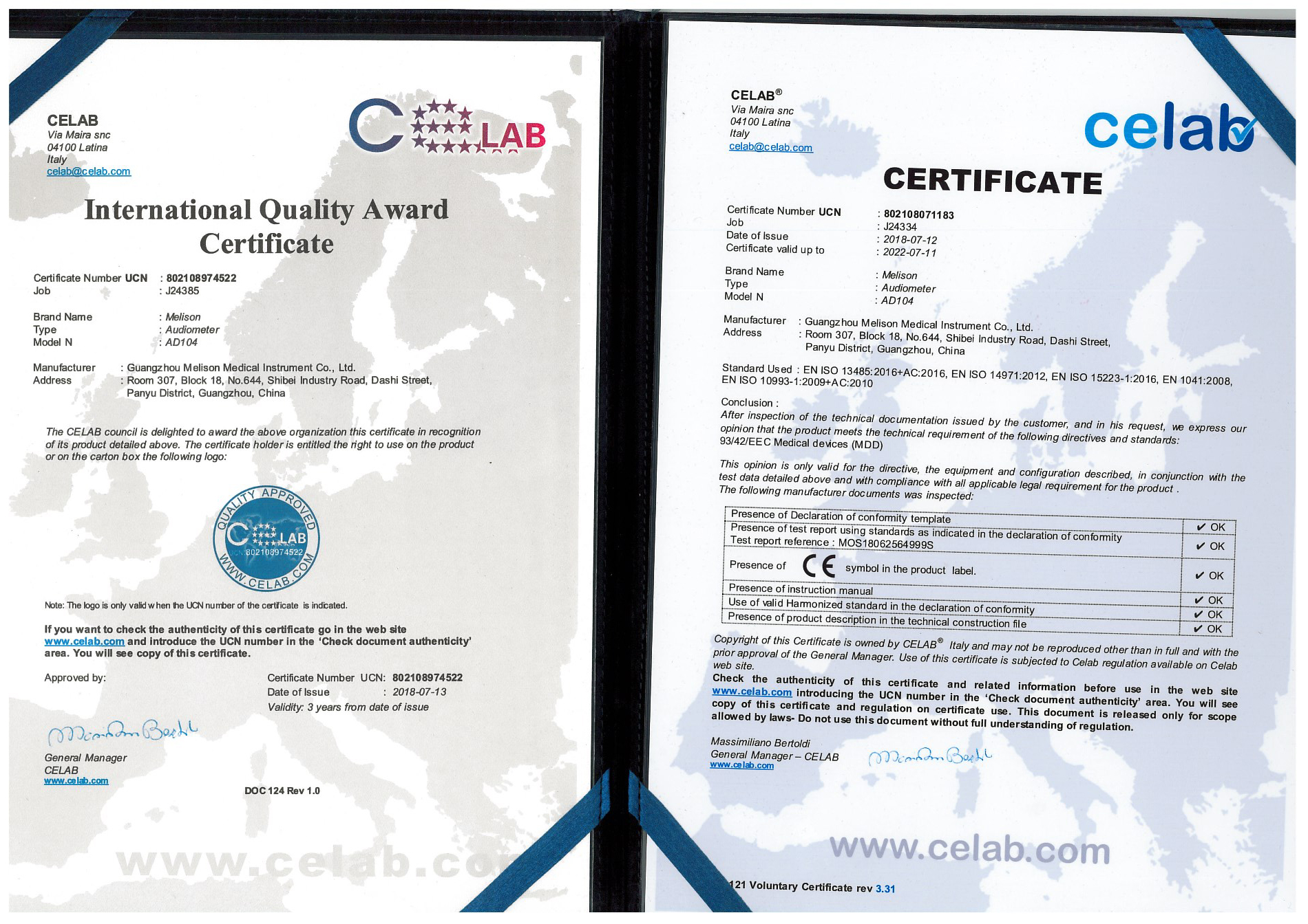 CE Certificate for Audiometer AD104