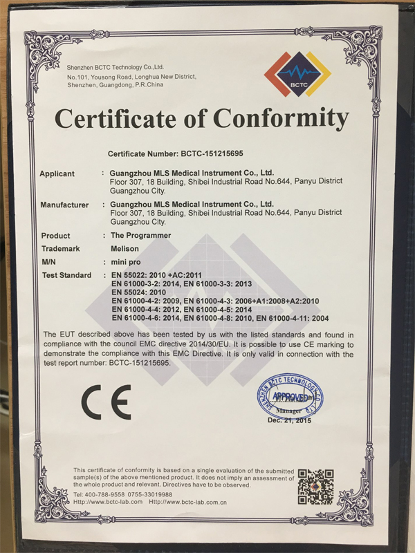CE Certificate for Hearing Aid Programmer Mini Pro