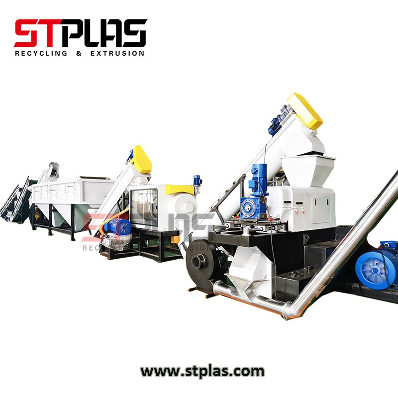 Plastic film bag washing squeezing granulating machine