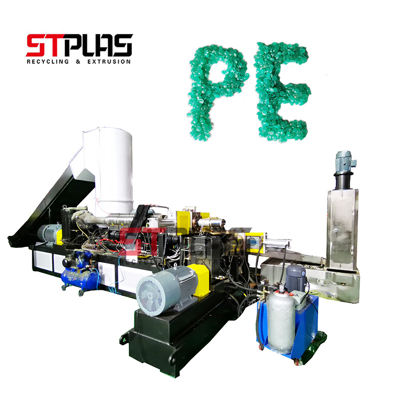 PE PP plastic film recycling pelletizing production line Compression feeder water ring pelletizing equipment
