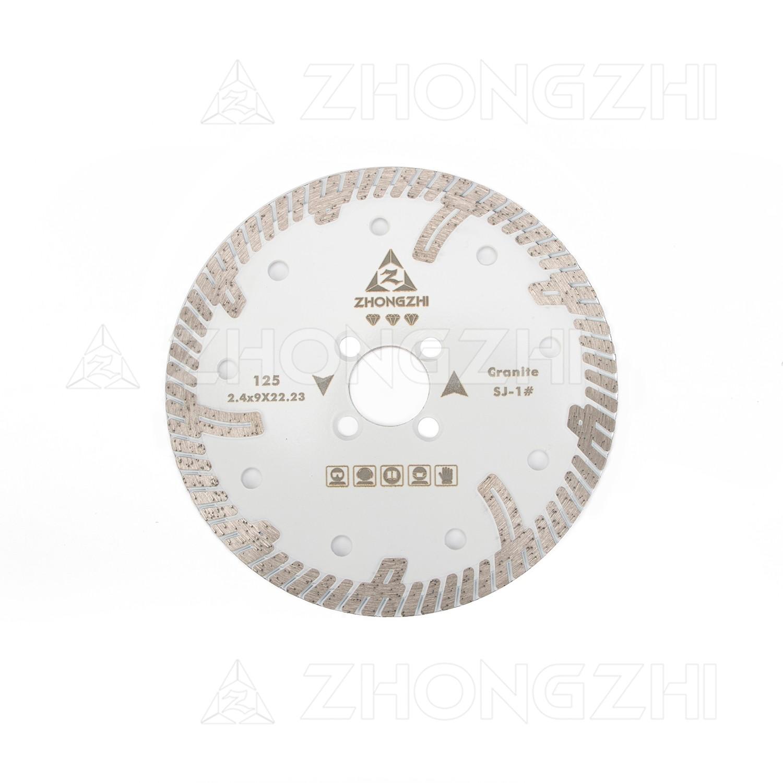 Diamantscheibe aus durchgehendem Turbo-Felgenblatt mit stufenschonenden Zähnen