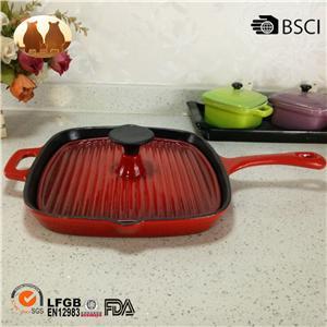 Cast Iron Enamel Griddle Pan
