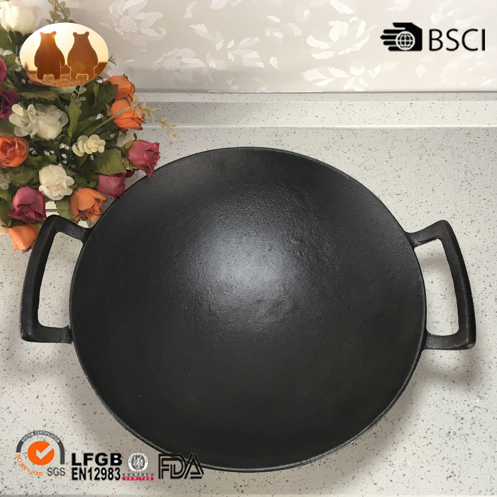 Cast Iron Wok With Two Handle