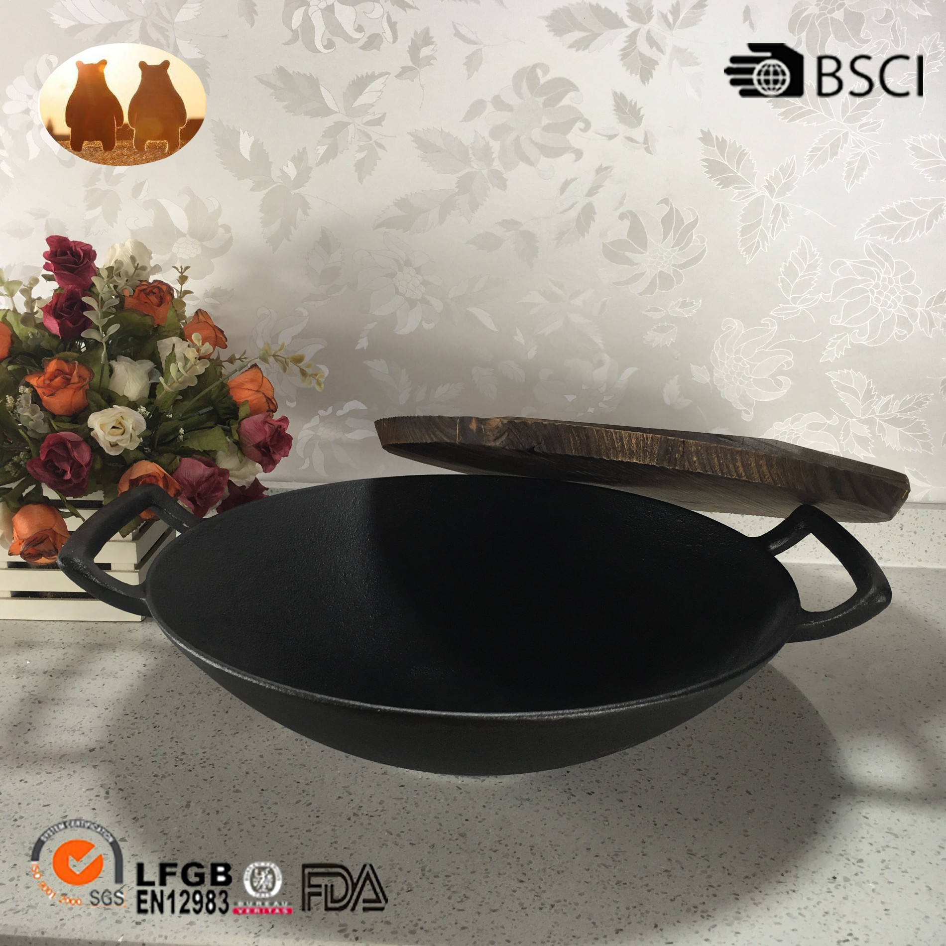Cast Iron Wok With Two Handle Manufacturers, Cast Iron Wok With Two Handle Factory, Supply Cast Iron Wok With Two Handle