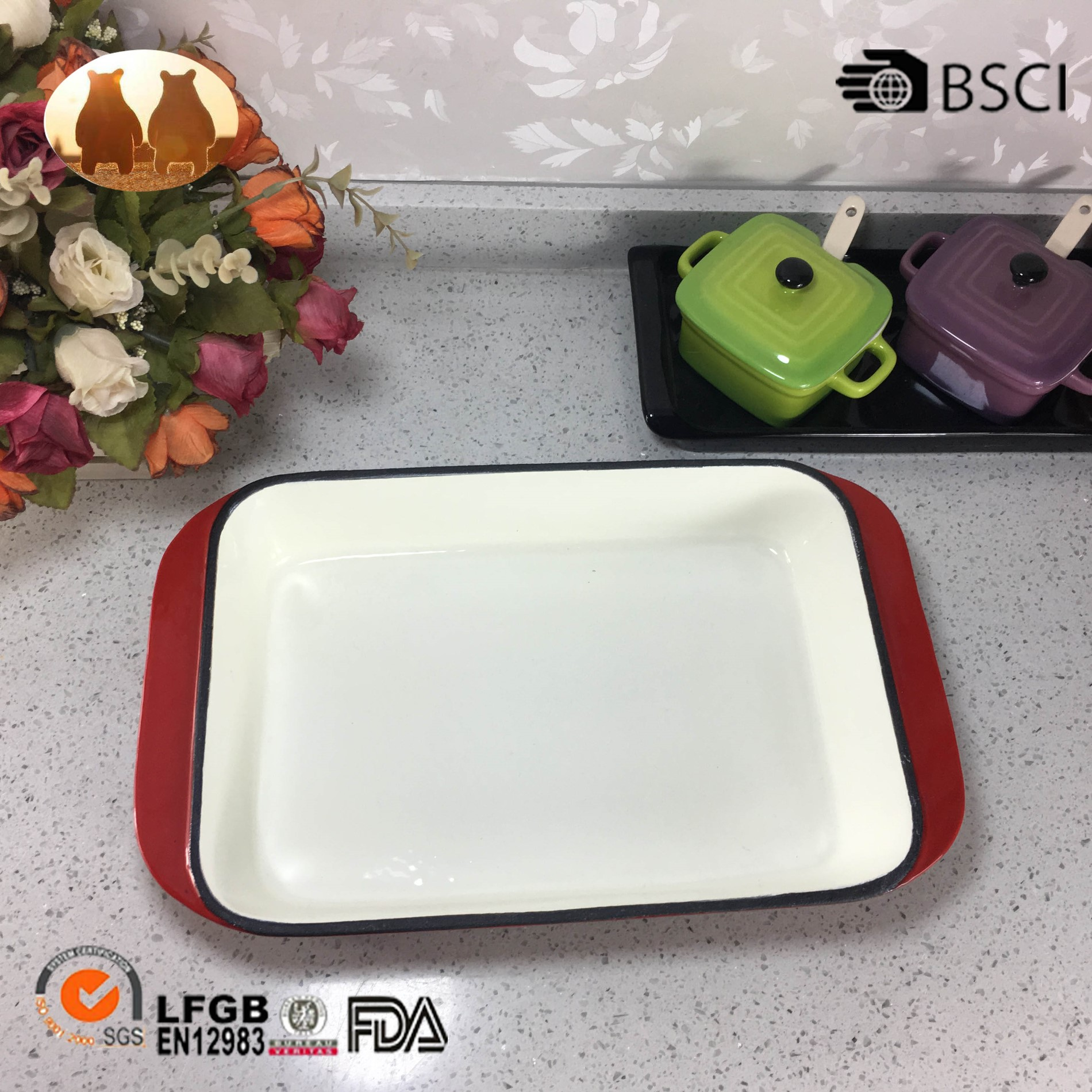 Cast Iron Enamel Baking Pan