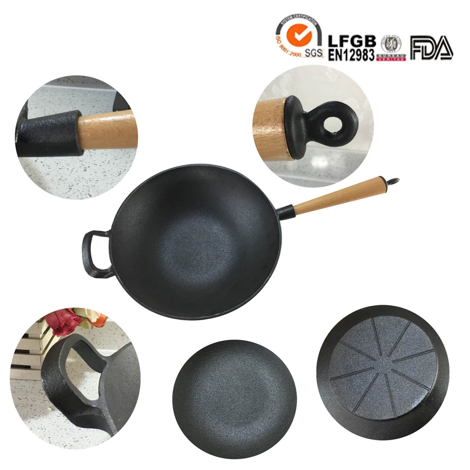 cast iron wok with wooden handle handle