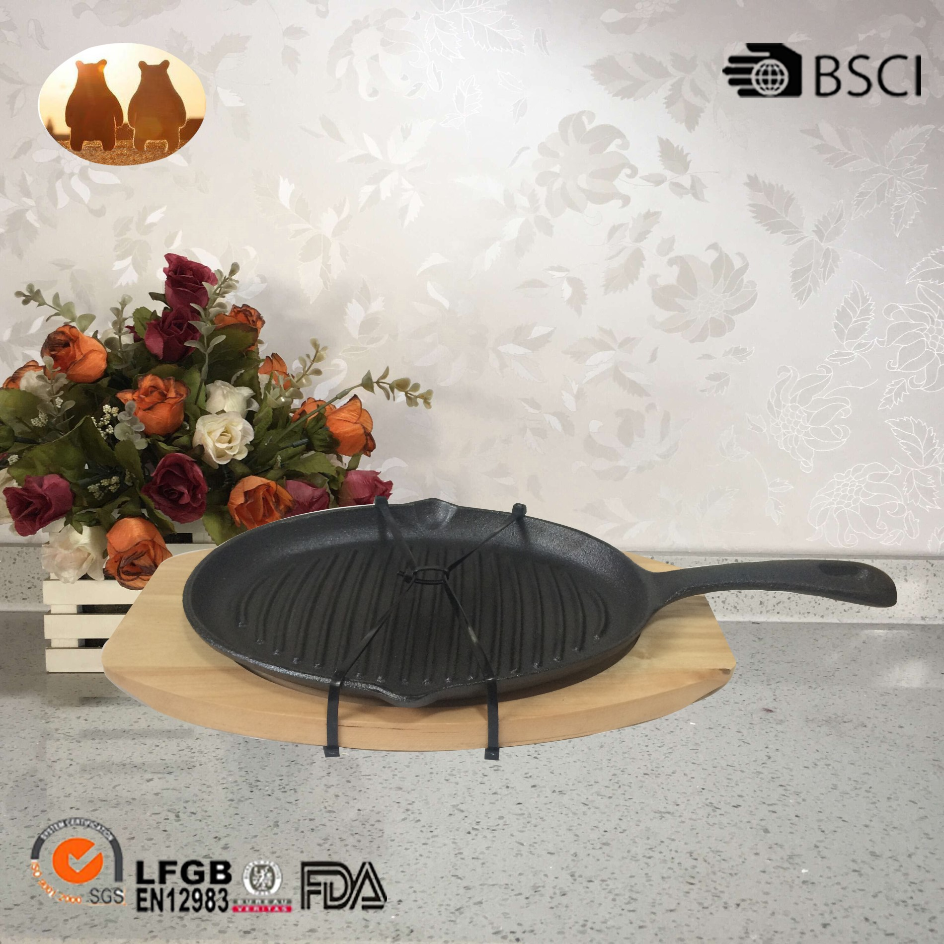 Cast Iron Pan With Wooden Tray Manufacturers, Cast Iron Pan With Wooden Tray Factory, Supply Cast Iron Pan With Wooden Tray