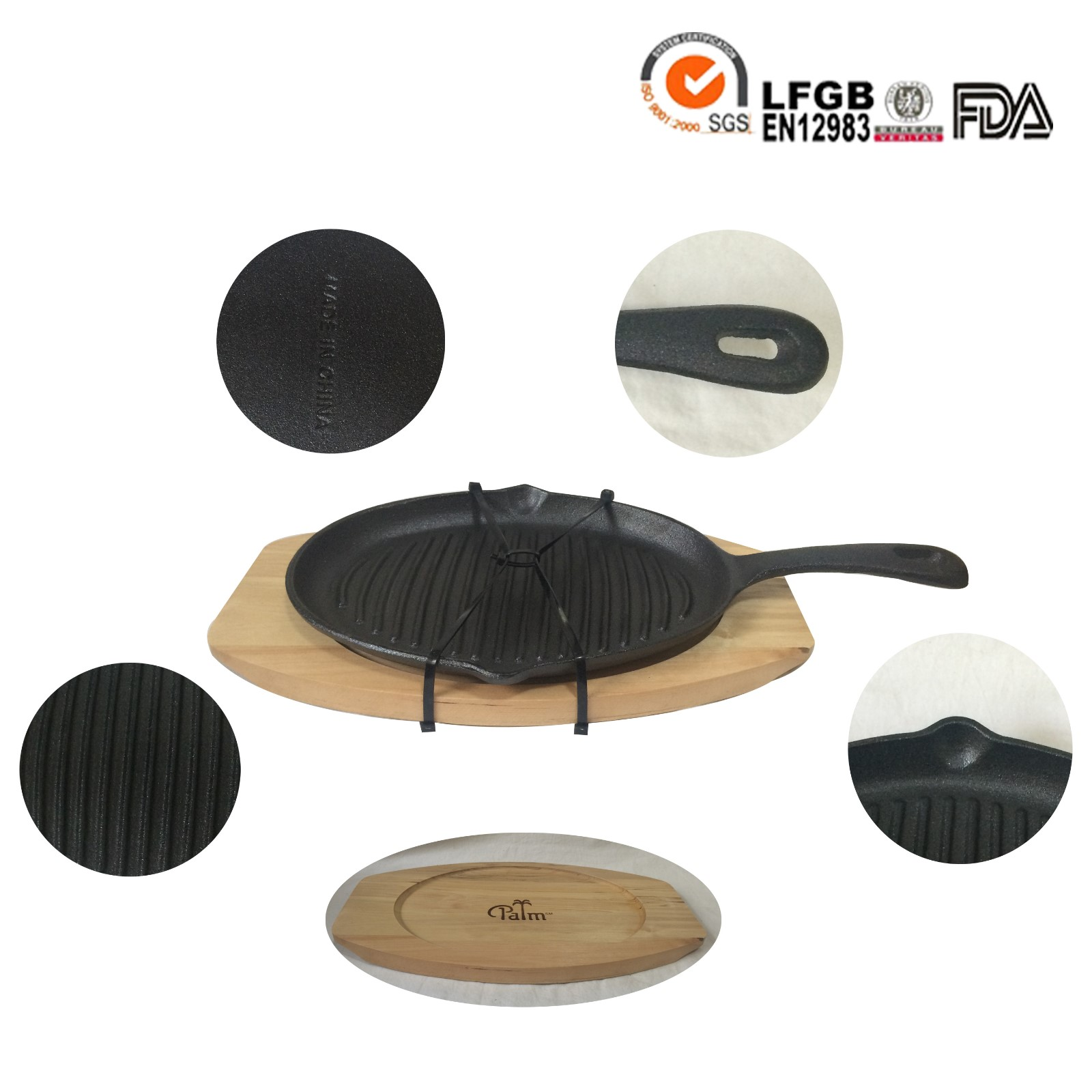 cast iron baking pan with wooden tray