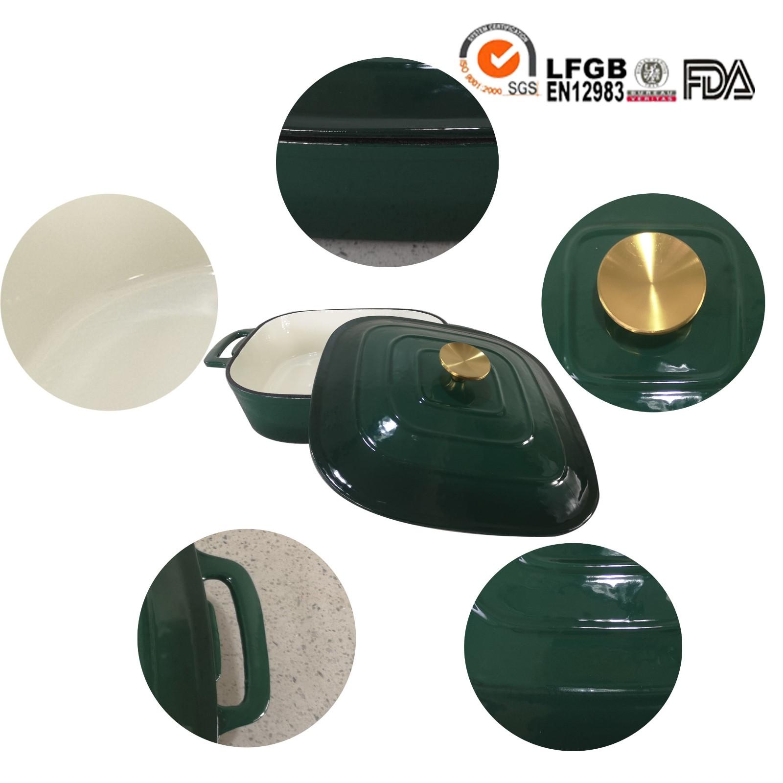 cast iron deep green enamel pot
