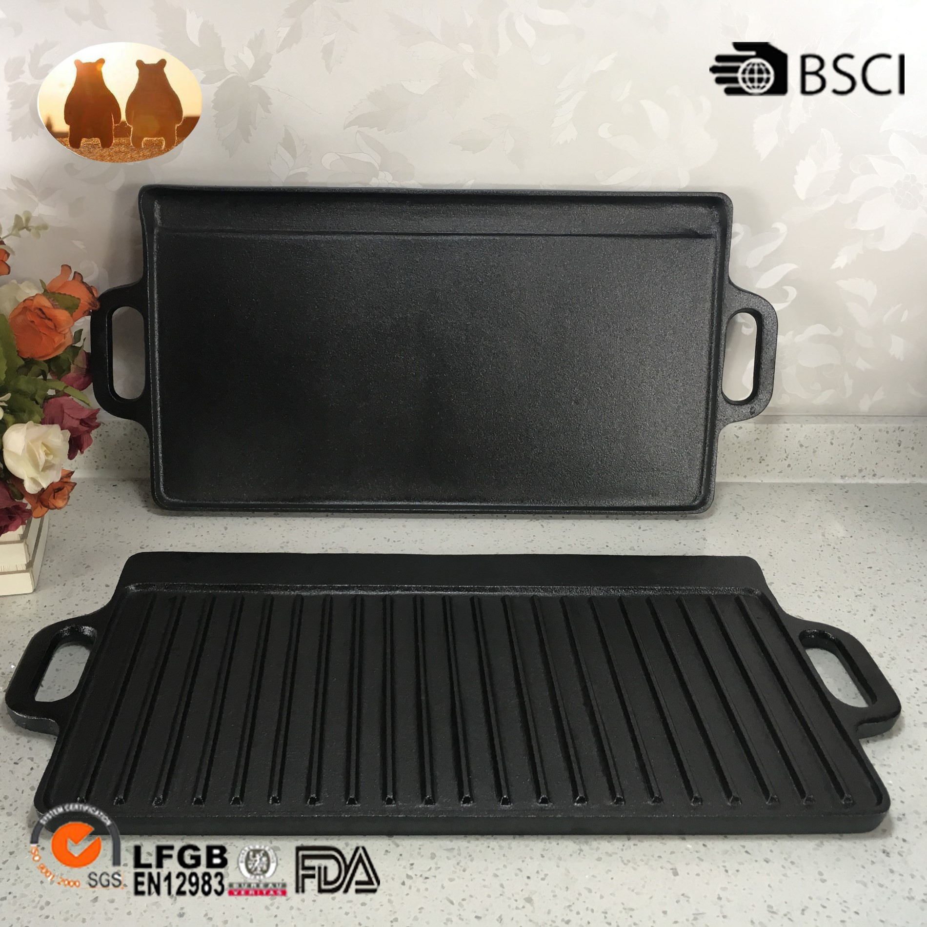 Cast Iron Frying Pan And Griddle Pan