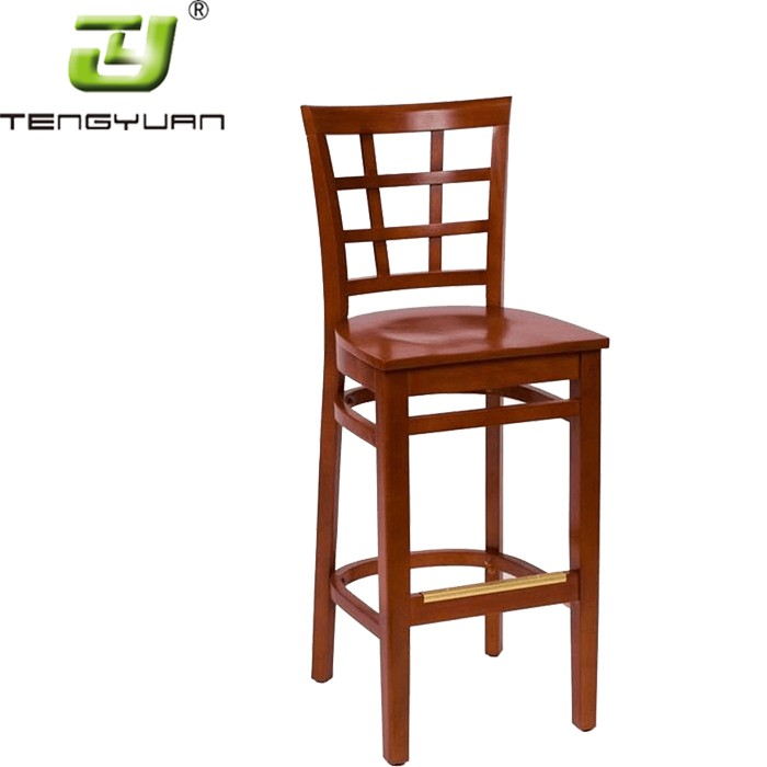Coffee Wood Bar Chair