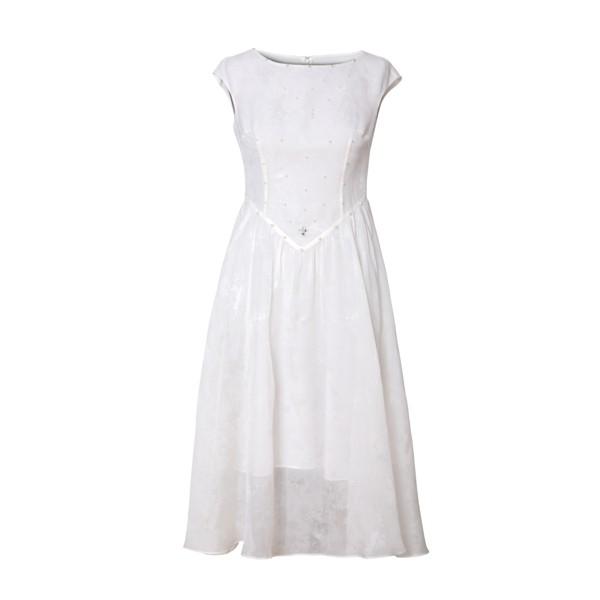 White Jacquard Sleeveless Silk Dress