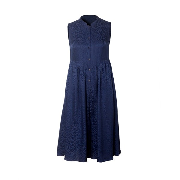 Blue Jacquard Sleeveless Silk Dress Manufacturers, Blue Jacquard Sleeveless Silk Dress Factory, Supply Blue Jacquard Sleeveless Silk Dress