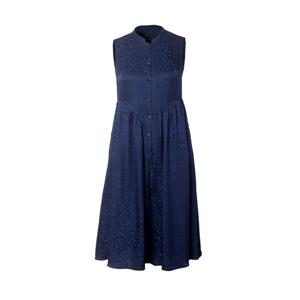 Blue Jacquard Sleeveless Silk Dress