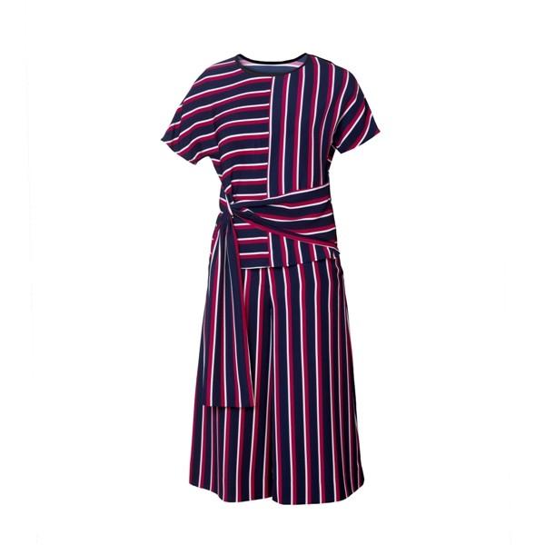 Striped Printing Silk Dress