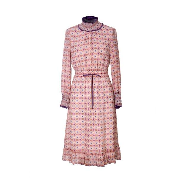 Long Sleeve Printed Silk Dress